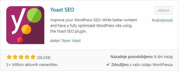 Optimizacija WordPress spletne strani z Yoast SEO vtičnikom